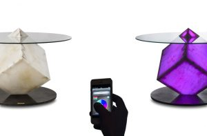 Alabaster table with phone control app