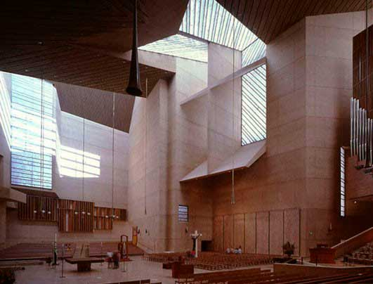 Los Angeles cathedral. Alabaster by Arastone used in ceilings and walls.