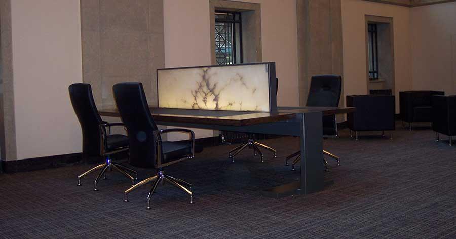 Alabaster panels used in desks.