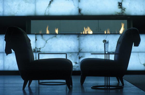 Alabaster fireplace.