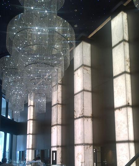 Alabaster columns. Interior design.